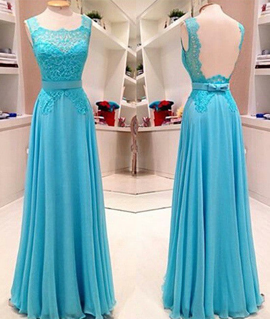 Blue lace long prom dress, blue evening dress for teens - shdress