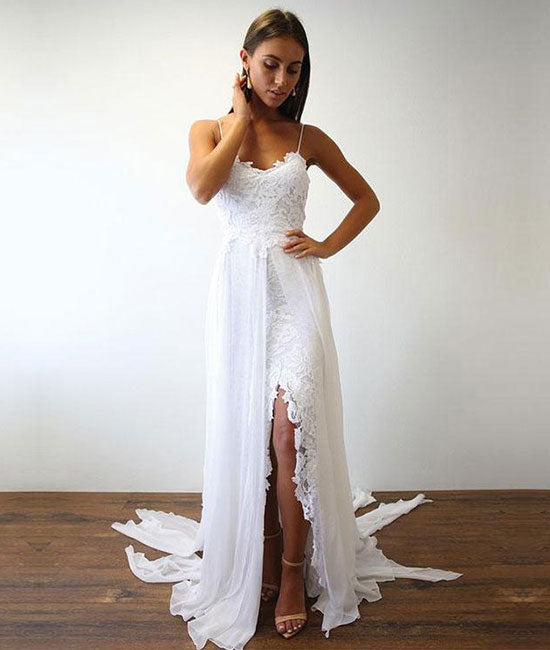 White lace chiffon long prom dress, white lace wedding dress - shdress
