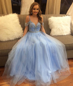 Blue tulle off shoulder long prom dress, blue evening dress - shdress