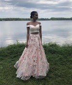 Pink 3d applique tulle long prom dress, pink evening dress