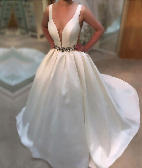 White v neck long prom gown, white wedding dress - shdress
