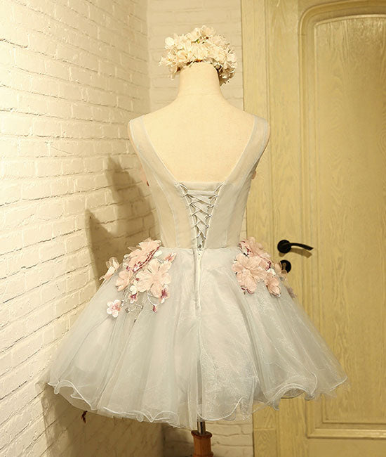 Cute round neck gray tulle lace applique short prom dresses