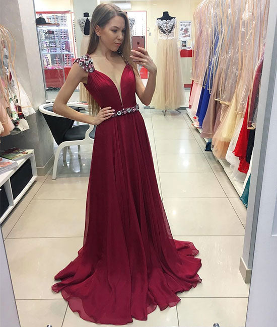 Burgundy chiffon long prom dress, burgundy evening dresses