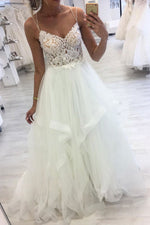 White sweetheart tulle lace applique long prom dress formal dress