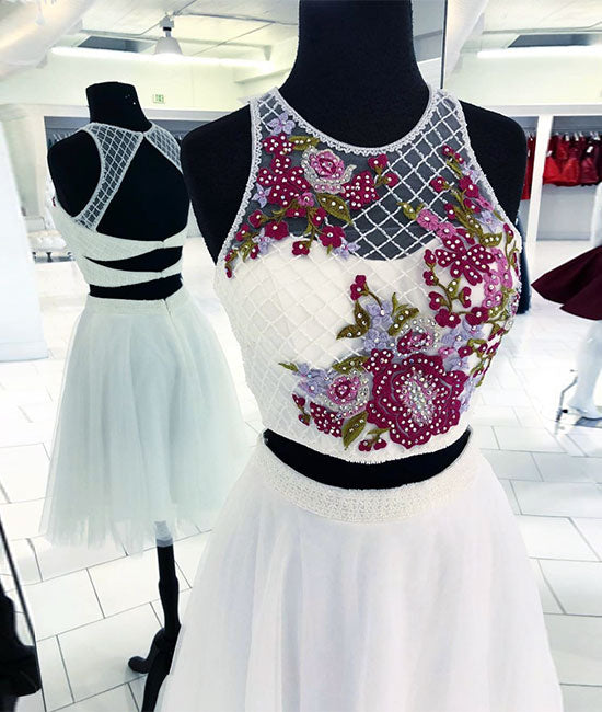 White round neck two pieces beads short prom dress, white homecoming dress - shdress