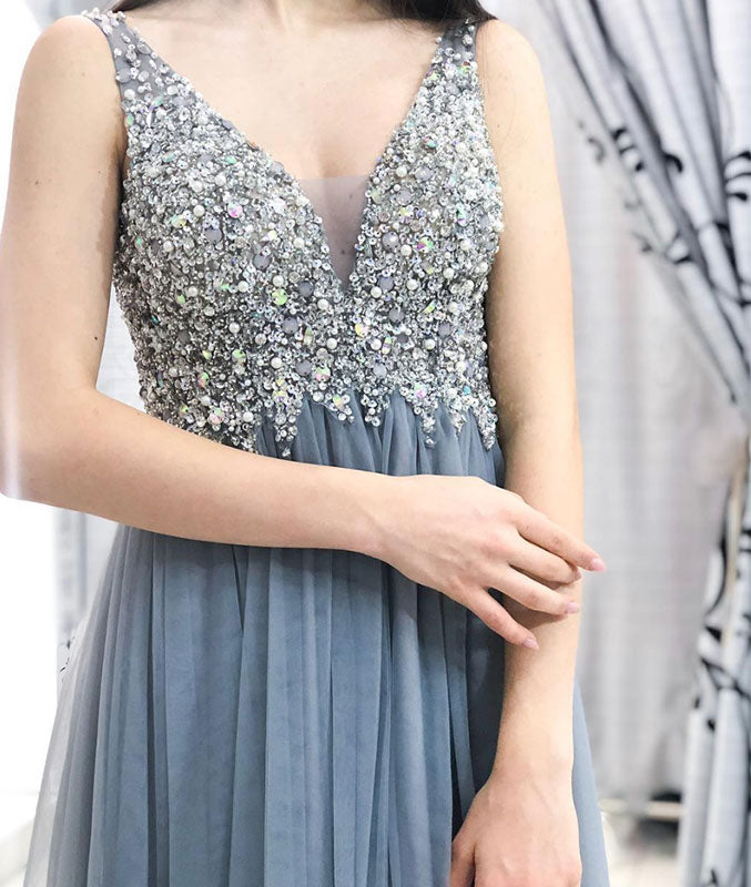 Gray v neck tulle beads sequin long prom dress, gray evening dress