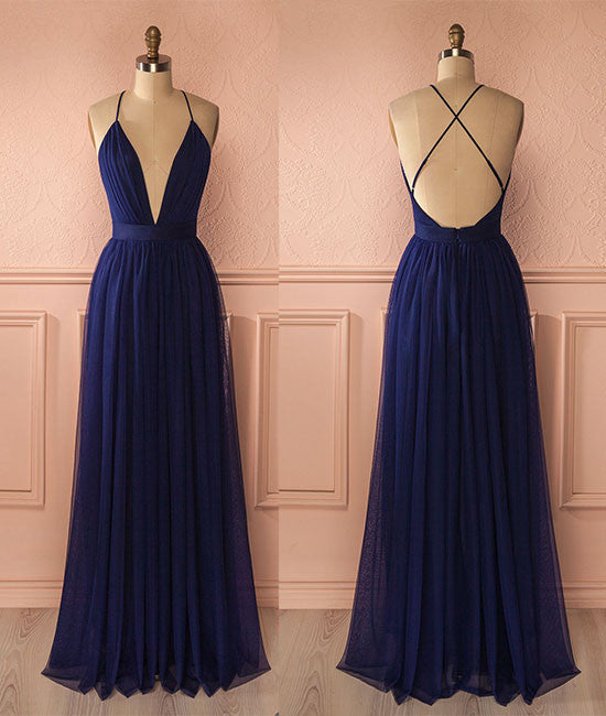 Simple v neck dark blue tulle long prom dress, evening dress