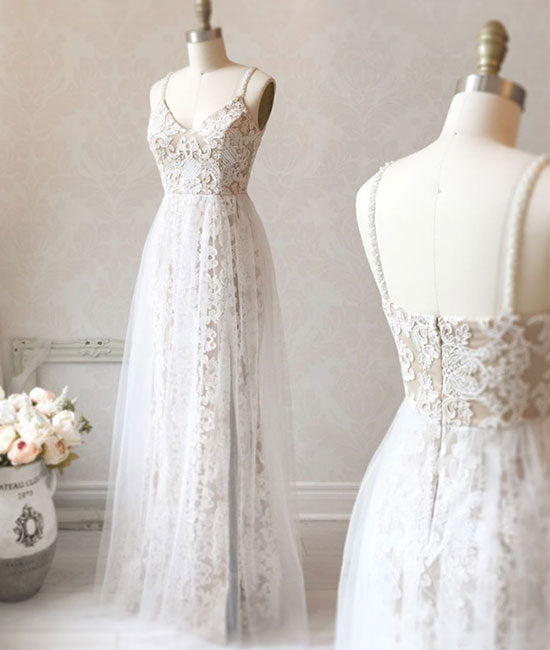 White v neck tulle lace long prom dress, white evening dress - shdress
