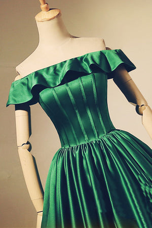 Simple green satin short prom dress, green homecoming dress