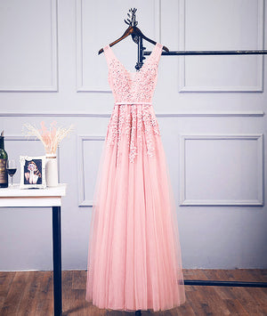 Pink v neck tulle lace applique long prom dress, pink bridesmaid dress - shdress
