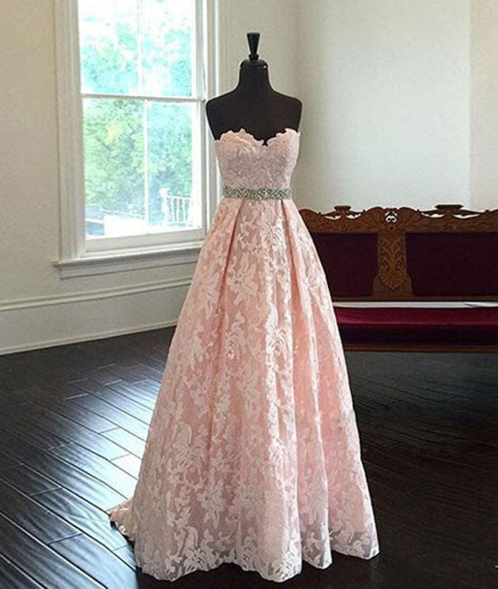 Pink Sweetheart Neck Lace Long Prom Dresses, Evening Dresses - shdress
