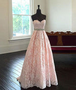 Pink Sweetheart Neck Lace Long Prom Dresses, Evening Dresses