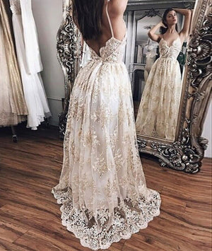Champagne lace long prom dress, backless lace evening dress - shdress