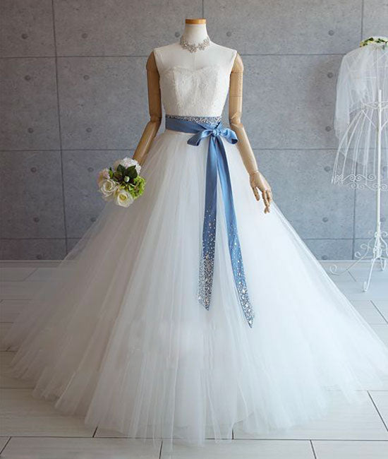 White tulle lace long pom dress, white tulle wedding dress