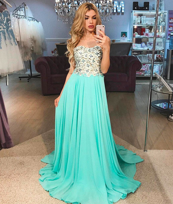 Green A-line chiffon long prom dress, green chiffon evening dress