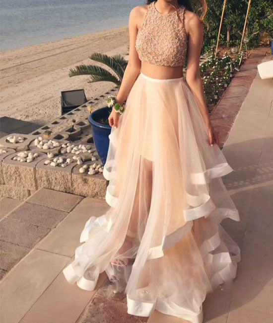 White Two Pieces Sequin Tulle Long Prom Dress, Evening Dress - shdress