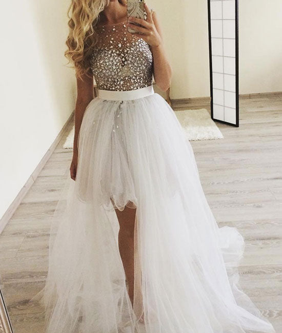 White round neck tulle rhinestone prom dress, rhinestone tulle evening dress