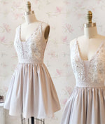 Simple v neck lace short prom dress, homecoming dress