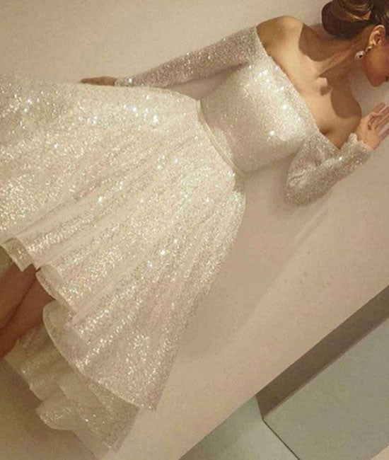 Custom made white sequin short prom dress, cute homecoming dress