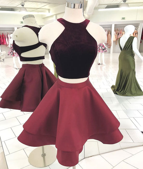 Cute burgundy two pieces short prom dress, burgundy homecoming dress - shdress
