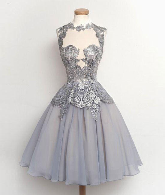 Gray lace Chiffon Short Prom Gown, Homecoming Dress