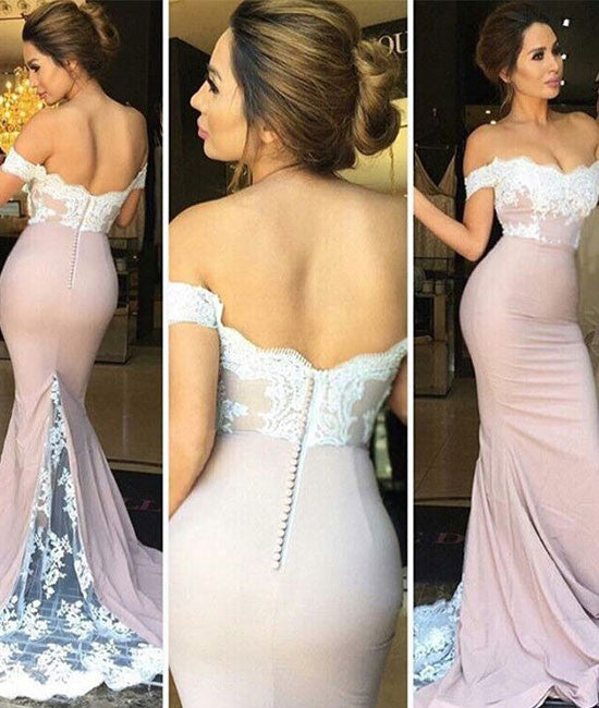 Custom Made Lace Off Shoulder Long Prom Dresses, Evening Dresses - shdress