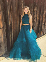 Green two pieces lace tulle long prom dress green evening dress