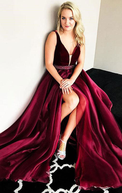 Burgundy v neck beads long prom dress, burgundy evening dress - shdress