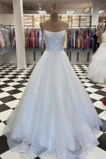 White tulle sequin long prom dress white tulle evening dress