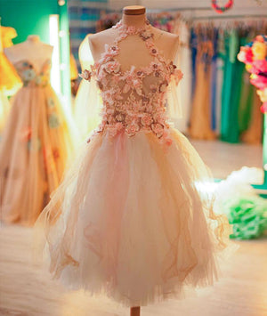 Cute tulle lace applique short prom dress, cute homecoming dress - shdress