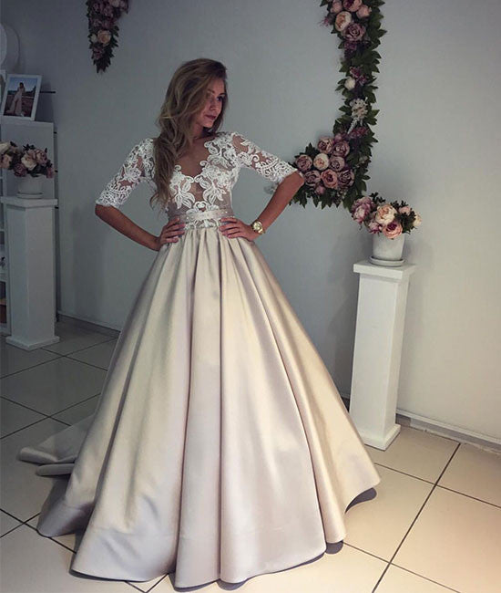 Unique Champagne v neck lace prom dress, champagne wedding dress