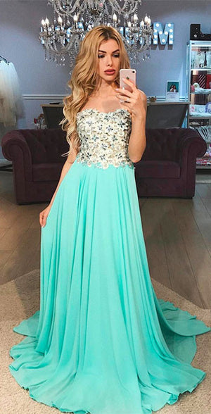 Green A-line chiffon long prom dress, green chiffon evening dress - shdress