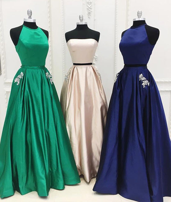 Simple satin two pieces long prom dress satin evening dress