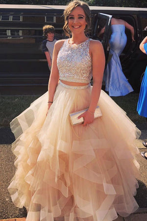 Champagne tulle two pieces sequin long prom dress, tulle evening dress
