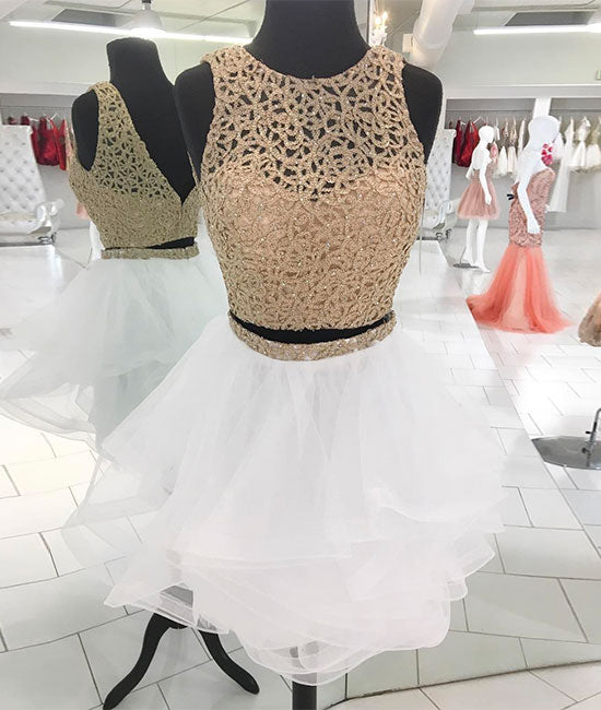 White cute sequin short prom dress, white homecoming dress