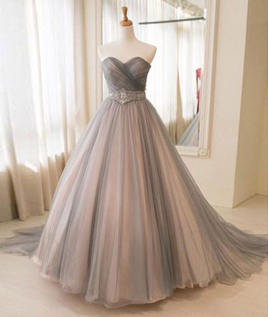 Sweetheart tulle long prom gown, tulle wedding dress