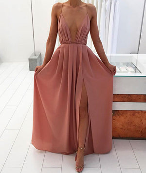 Simple A-line Backless Long Prom Dress, Evening Dress - shdress