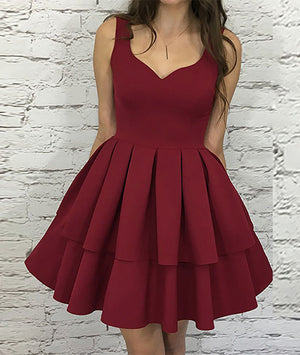 Simple burgundy v neck short prom dress, burgundy homecoming dress - shdress