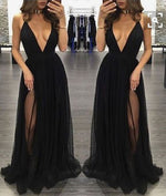Simple v neck chiffon long prom dress, black evening dress