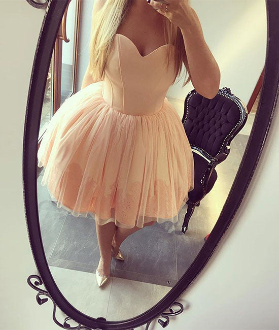 champagne sweetheart neck tulle short prom dress, homecoming dress - shdress