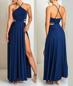Simple blue chiffon long prom dress, blue chiffon evening dress
