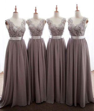 Simple v neck lace chiffon long prom dress, bridesmaid dress - shdress