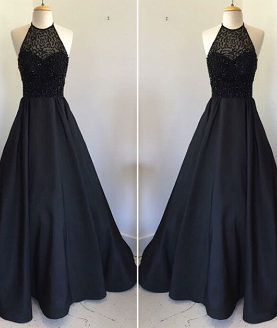 Black round neck satin long prom dress, black evening dress