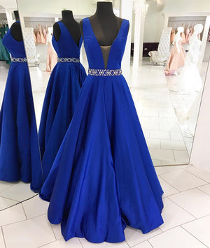 Dark blue v neck long prom dress blue evening dress - shdress