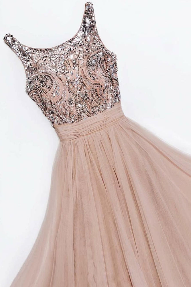 Champagne round neck tulle long prom dress, champagne evening dress