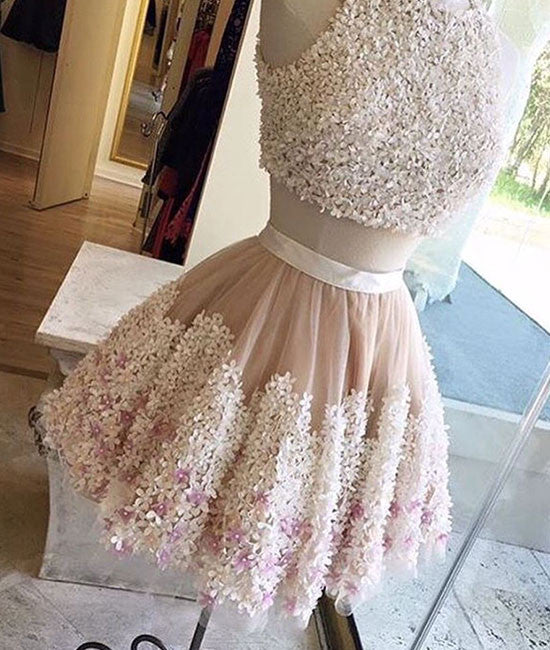 Cute two pieces applique short prom dress, homecoming dress