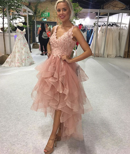 Pink v neck lace tulle prom dress, pink tulle homecoming dress