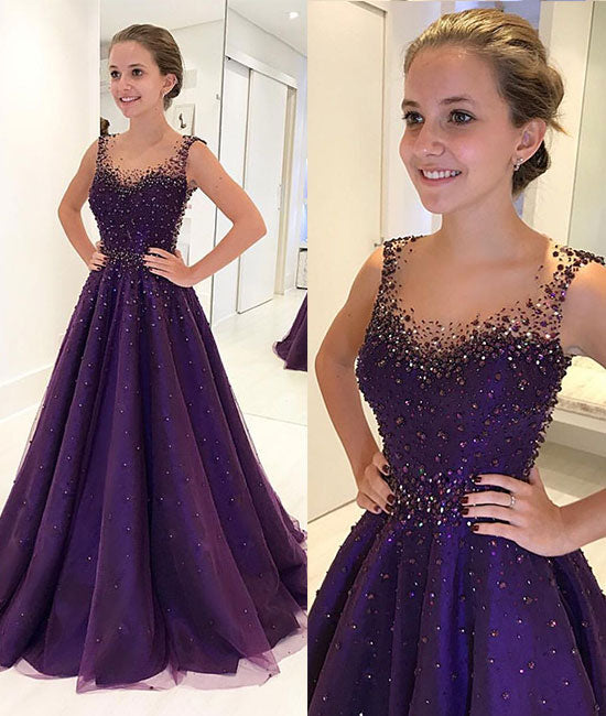 Purple round neck tulle beads long prom dress,