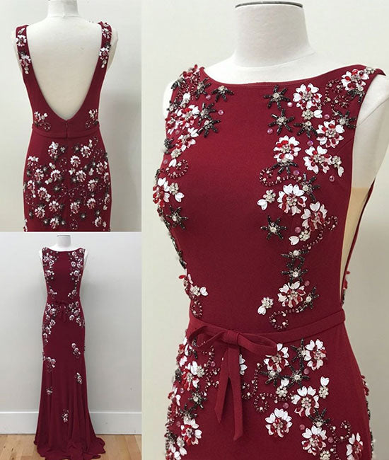 Unique round neck chiffon beads long prom dress, burgundy evening dress