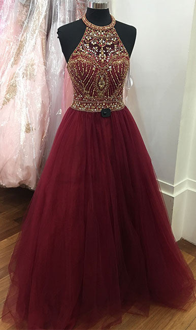 Burgundy o neck sequin beads tulle prom dress, burgundy evening dress - shdress